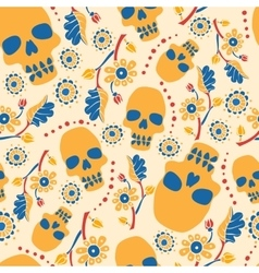 Colorful seamless pattern with flowers and skulls vector image