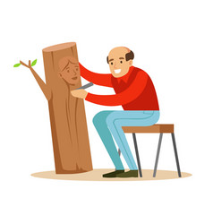 Craftsman is carving a portrait of a woman over a vector