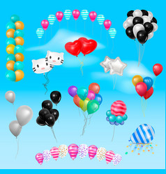 different 3d realistic balloonss in air happy vector image