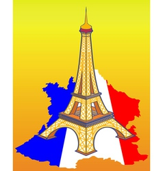 Eiffel Tower on the map of France vector image vector image