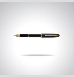 elegant realistic plated business fountain pen vector image