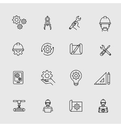 Engineering simple icons Machine engineers and vector image