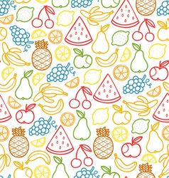 Fruits doodle pattern vector image