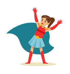 Girl with ponytail pretending to have super powers vector