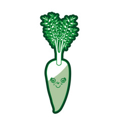 Green silhouette of carrot caricature with stem vector