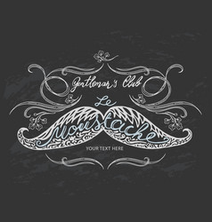 Hand drawn mustache with lettering and vignettes vector