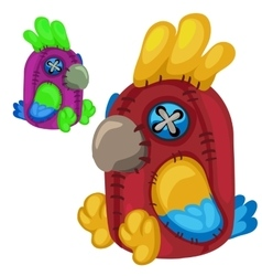 Handmade soft toy red parrot bird vector image