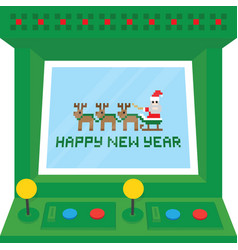 happy new year arcade machine card vector image vector image