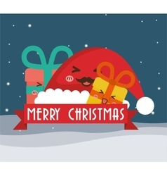 Hat and gifts cartoons of chistmas design vector