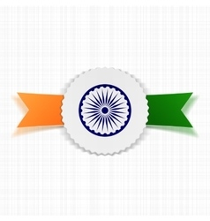 India flag on realistic label vector