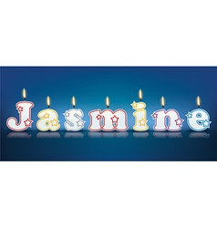 Jasmine written with burning candles vector