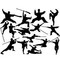 Kung fu silhouettes vector
