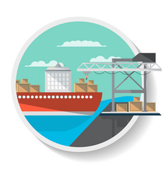 logistics icon with freight ship vector image vector image