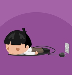 Man worker tired power plug vector