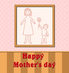 Mother day child drawing son gives mom flower vector