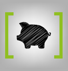 Pig money bank sign black scribble icon vector