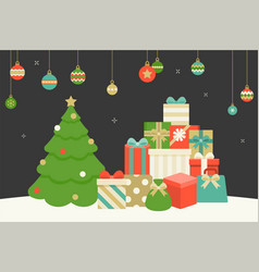 pile of present boxes and christmas tree vector image vector image