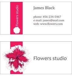Pink floral design horizontal business card vector