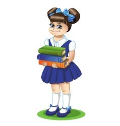 Schoolgirl with books vector image vector image