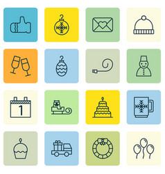 Set of 16 celebration icons includes birthday vector