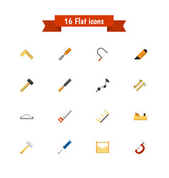 set of 16 editable tools icons includes symbols vector image vector image