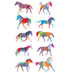 Set of colorful trotting horses silouettes vector