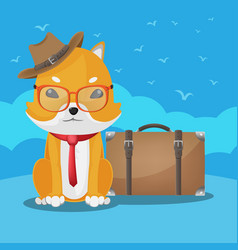 Shiba inu cute dog travel vector