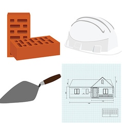 Spatula house plan brick and helmet vector image