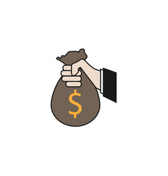 sponsor investment solid icon holding money bag vector image