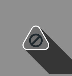 warning sign icon with long shadow vector image vector image
