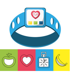 weight and smartwatch to meter rhythm cardiac vector image vector image