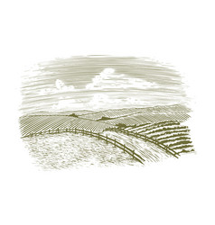 woodcut countryside road vector image vector image