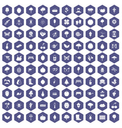 100 gardening icons hexagon purple vector