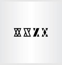 X letters set black icon symbol design element vector