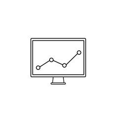 market monitoring line icon computer analysis vector image