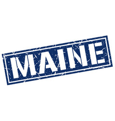 Maine blue square stamp vector