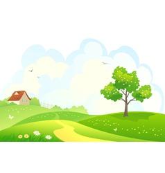 Rural spring scene vector