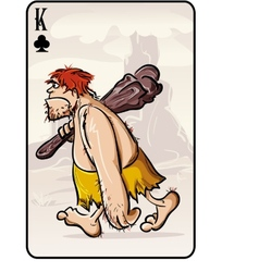 King of clubs playing card from the primitive man vector