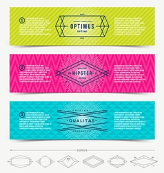 Set of abstract banner template design with line vector image
