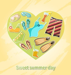 Summer heart icons vector
