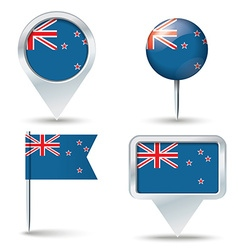 Map pins with flag of new zealand vector