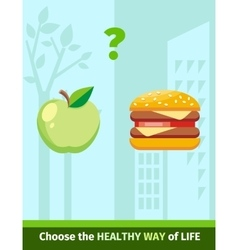 Apple or burger food design flat vector
