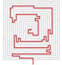 Grey maze with red solution vector