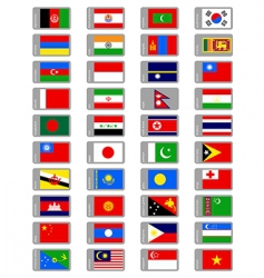 asian flags collection vector image