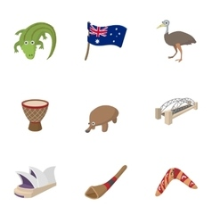 Australia icons set cartoon style vector image vector image
