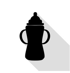 baby bottle sign black icon with flat style vector image vector image