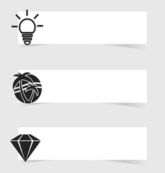 Banner with diamond and lightbulb set vector