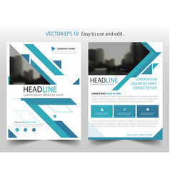 Blue abstract triangle annual report brochure vector