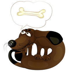 cartoon funny dog with a bone vector image