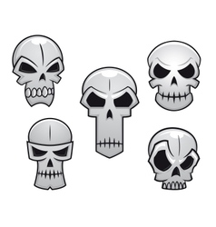 Cartoon skulls set with danger emotions vector image